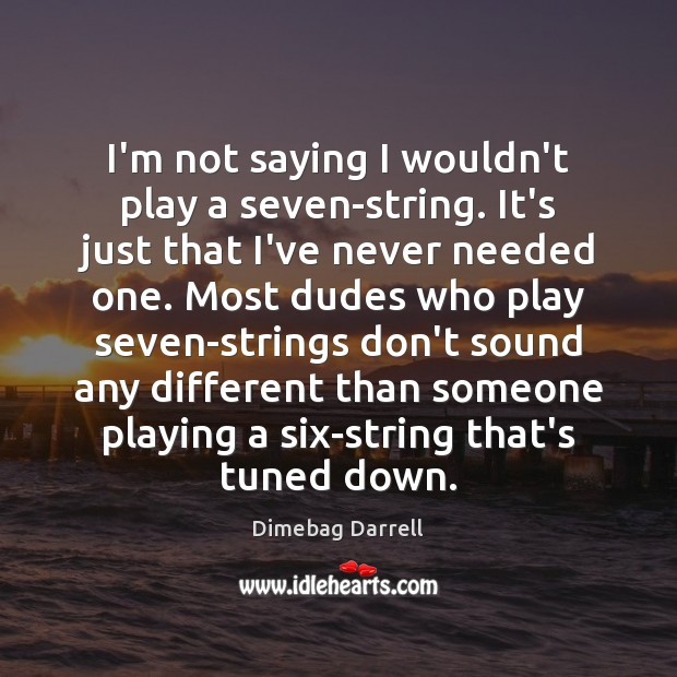 Image, I'm not saying I wouldn't play a seven-string. It's just that I've