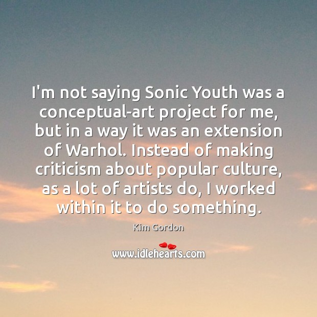 Image, I'm not saying Sonic Youth was a conceptual-art project for me, but