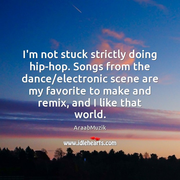 Image, I'm not stuck strictly doing hip-hop. Songs from the dance/electronic scene