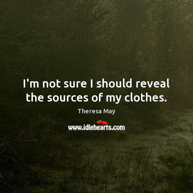 I'm not sure I should reveal the sources of my clothes. Theresa May Picture Quote