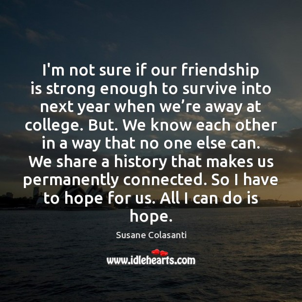 Susane Colasanti Picture Quote image saying: I'm not sure if our friendship is strong enough to survive into