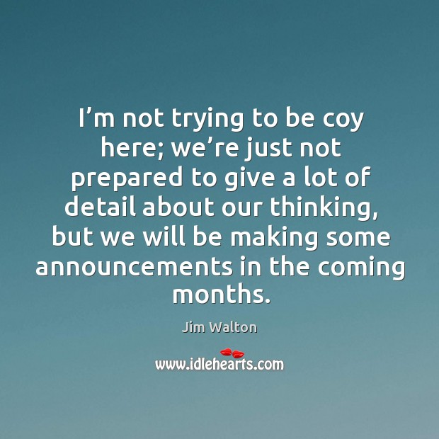 I'm not trying to be coy here; we're just not prepared to give a lot of detail about our thinking Image