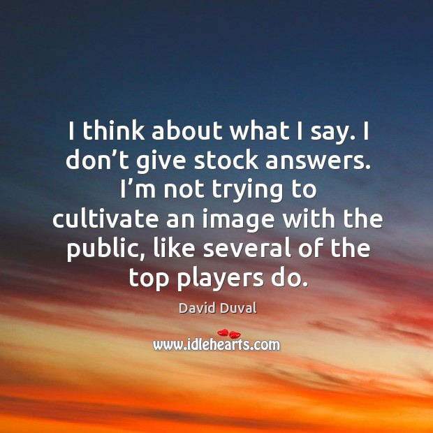 I'm not trying to cultivate an image with the public, like several of the top players do. David Duval Picture Quote