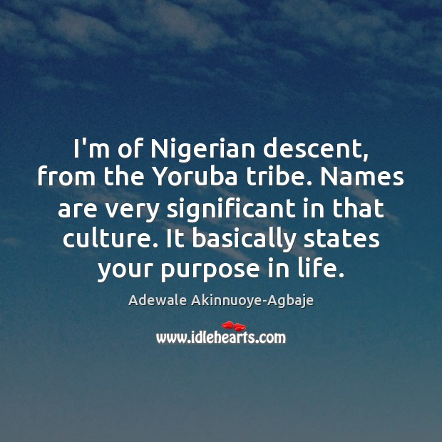 Image, I'm of Nigerian descent, from the Yoruba tribe. Names are very significant