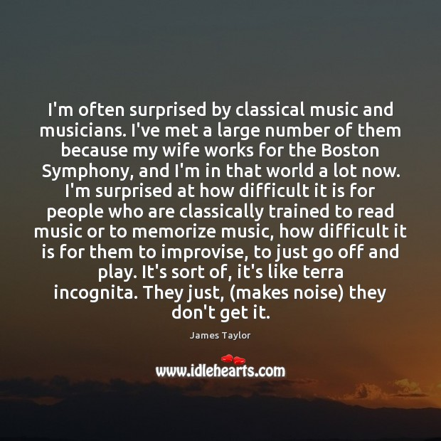 I'm often surprised by classical music and musicians. I've met a large James Taylor Picture Quote