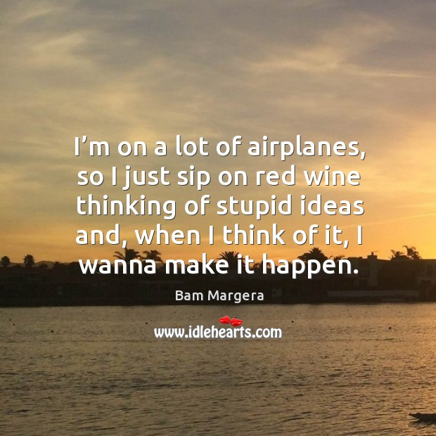 I'm on a lot of airplanes, so I just sip on red wine thinking of stupid ideas and Bam Margera Picture Quote
