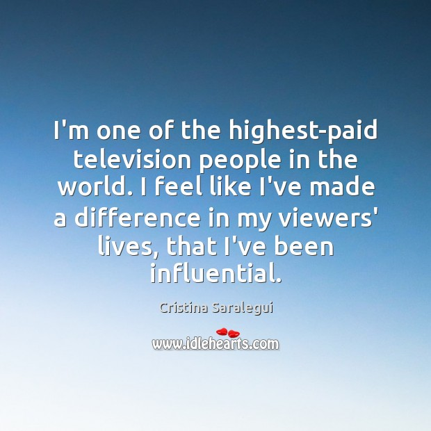 I'm one of the highest-paid television people in the world. I feel Cristina Saralegui Picture Quote