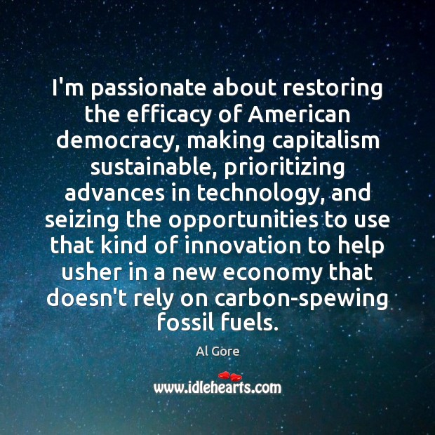 I'm passionate about restoring the efficacy of American democracy, making capitalism sustainable, Economy Quotes Image