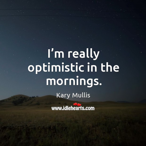 I'm really optimistic in the mornings. Kary Mullis Picture Quote