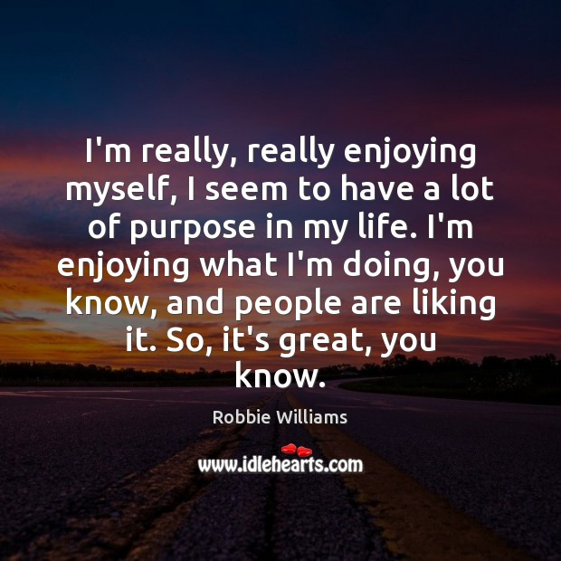 I'm really, really enjoying myself, I seem to have a lot of Robbie Williams Picture Quote