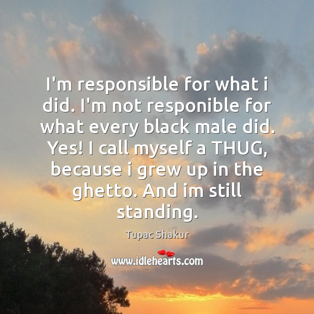 I'm responsible for what i did. I'm not responible for what every Tupac Shakur Picture Quote