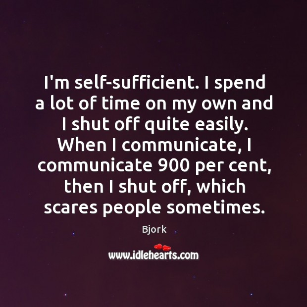 Image, I'm self-sufficient. I spend a lot of time on my own and