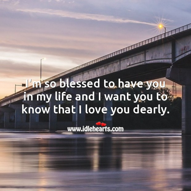 I'm so blessed to have you in my life. I Love You Quotes Image