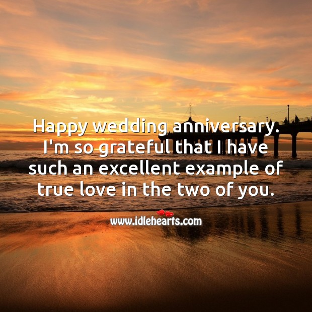 I'm so grateful that I have such an excellent example of true love in the two of you. Wedding Anniversary Quotes Image