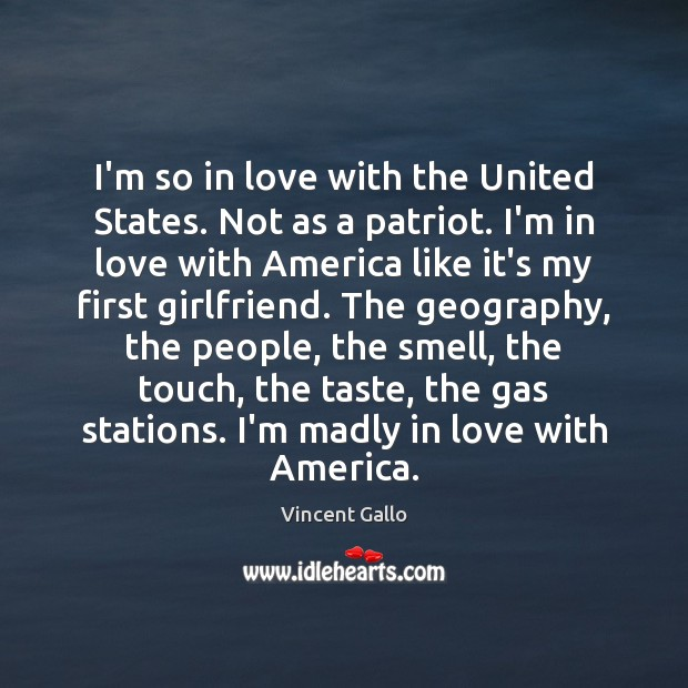 Image, I'm so in love with the United States. Not as a patriot.