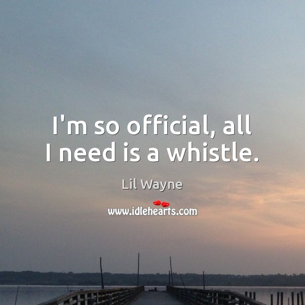 I'm so official, all I need is a whistle. Image