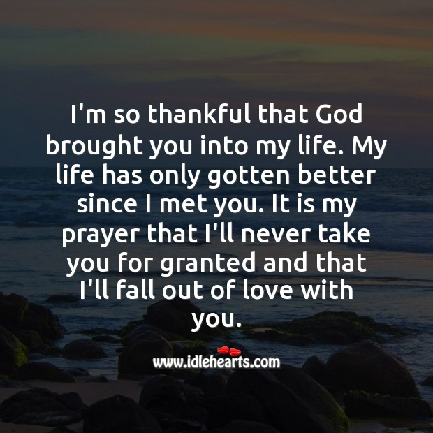 I'm so thankful that God brought you into my life. With You Quotes Image