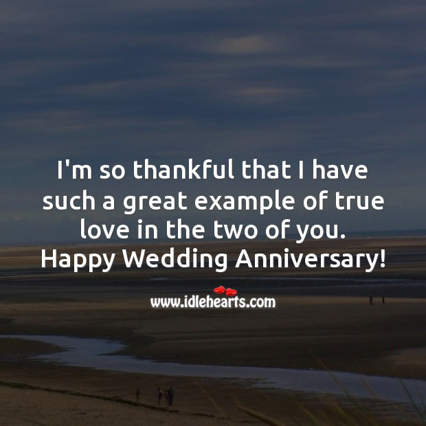 I'm so thankful that I have such a great example of true love in the two of you. Wedding Anniversary Quotes Image