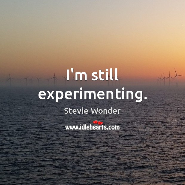 Stevie Wonder Picture Quote image saying: I'm still experimenting.