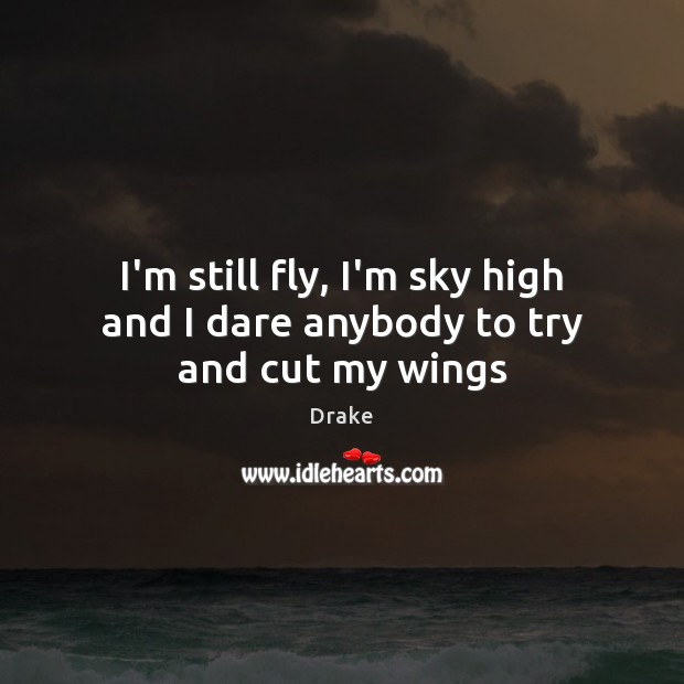 I'm still fly, I'm sky high and I dare anybody to try and cut my wings Drake Picture Quote