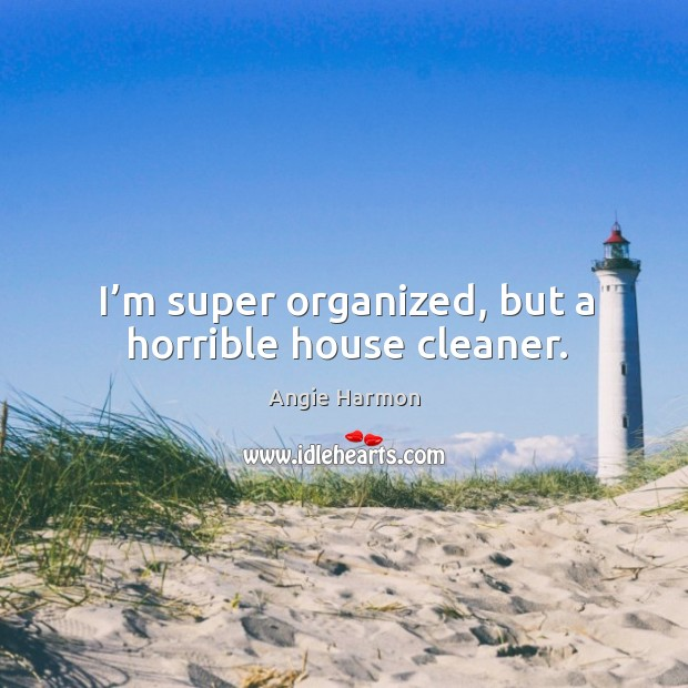 I'm super organized, but a horrible house cleaner. Angie Harmon Picture Quote
