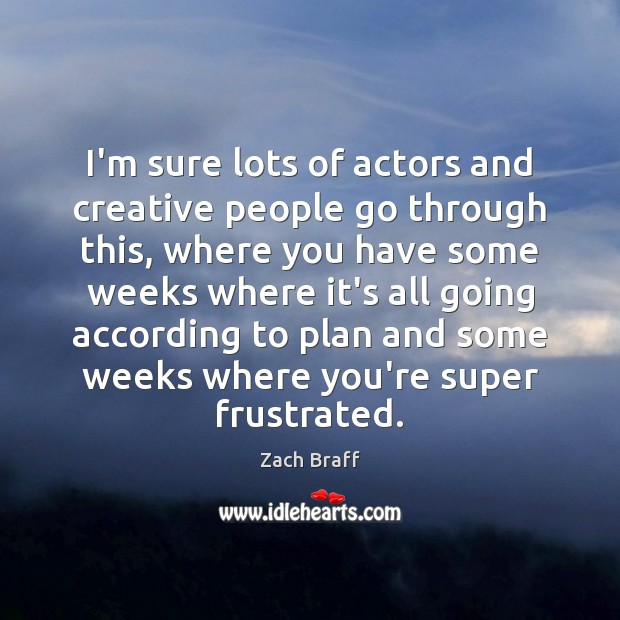 Image, I'm sure lots of actors and creative people go through this, where