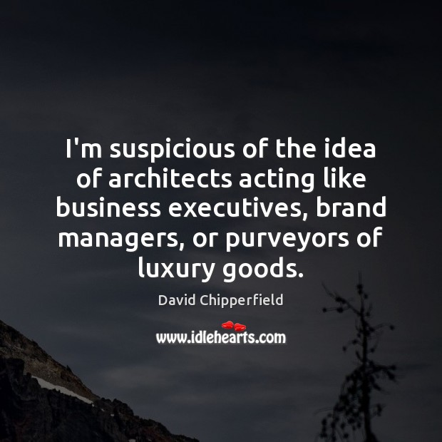 I'm suspicious of the idea of architects acting like business executives, brand Image