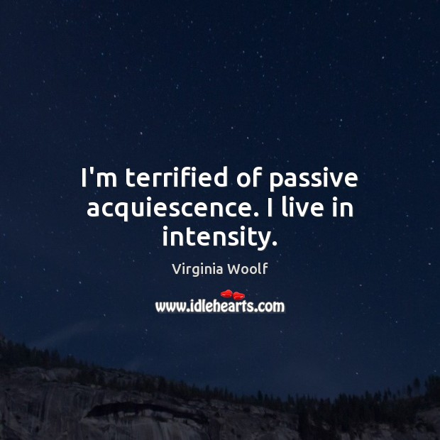 Image, I'm terrified of passive acquiescence. I live in intensity.