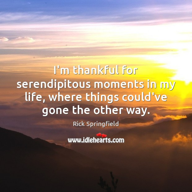 I'm thankful for serendipitous moments in my life, where things could've gone Rick Springfield Picture Quote