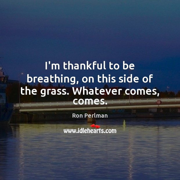I'm thankful to be breathing, on this side of the grass. Whatever comes, comes. Thankful Quotes Image