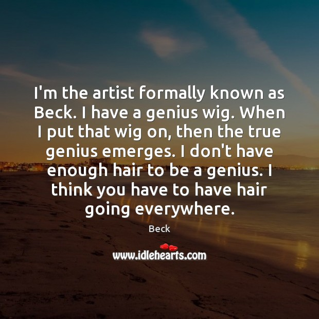 Image, I'm the artist formally known as Beck. I have a genius wig.