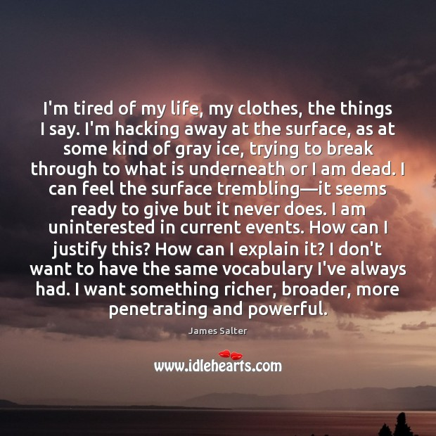 I'm tired of my life, my clothes, the things I say. I'm James Salter Picture Quote