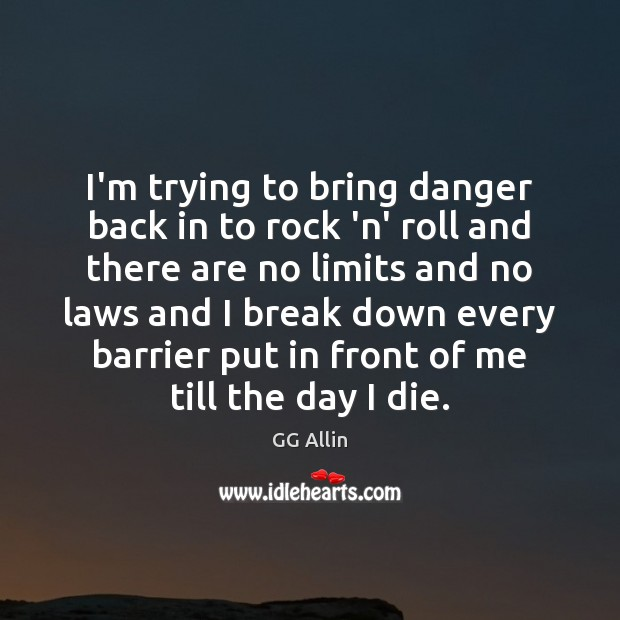 I'm trying to bring danger back in to rock 'n' roll and Image