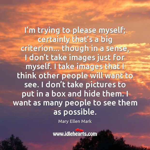 I'm trying to please myself; certainly that's a big criterion… Image