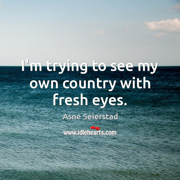 Image, I'm trying to see my own country with fresh eyes.