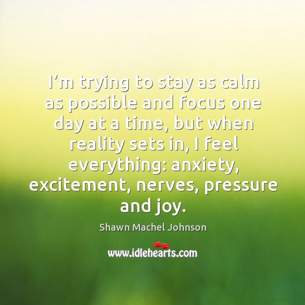 I'm trying to stay as calm as possible and focus one day at a time Shawn Machel Johnson Picture Quote