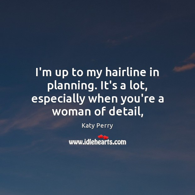 Image, I'm up to my hairline in planning. It's a lot, especially when you're a woman of detail,