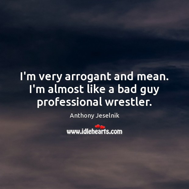I'm very arrogant and mean. I'm almost like a bad guy professional wrestler. Image