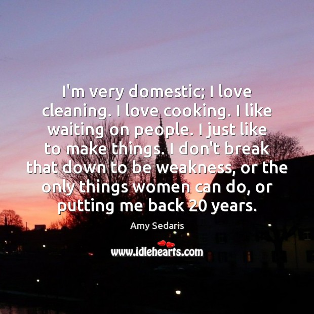 I'm very domestic; I love cleaning. I love cooking. I like waiting Amy Sedaris Picture Quote