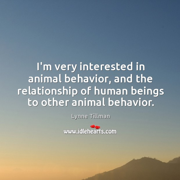 I'm very interested in animal behavior, and the relationship of human beings Image