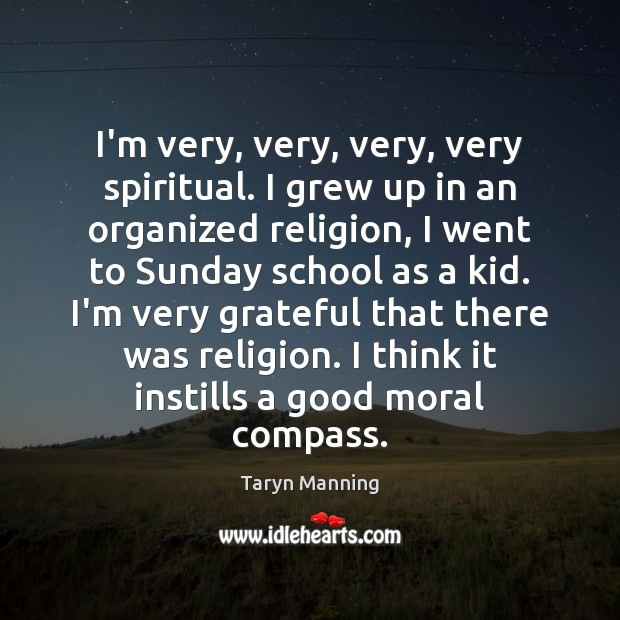 I'm very, very, very, very spiritual. I grew up in an organized Taryn Manning Picture Quote