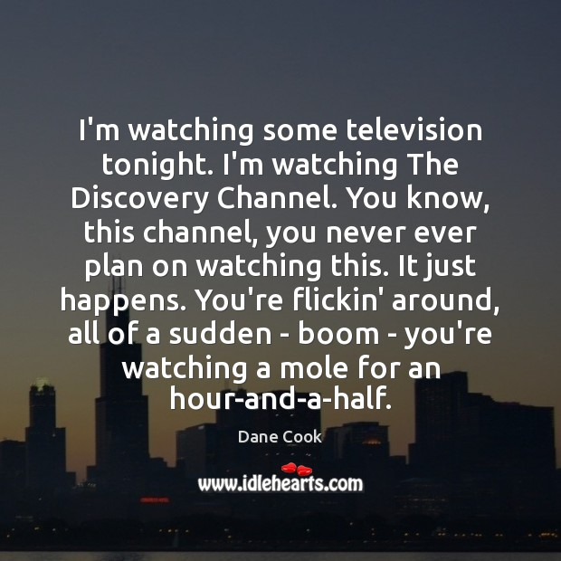 I'm watching some television tonight. I'm watching The Discovery Channel. You know, Dane Cook Picture Quote