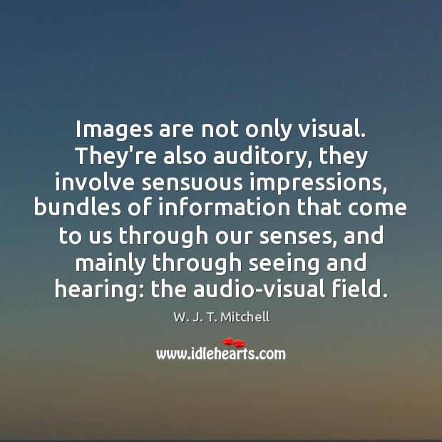 Image, Images are not only visual. They're also auditory, they involve sensuous impressions,