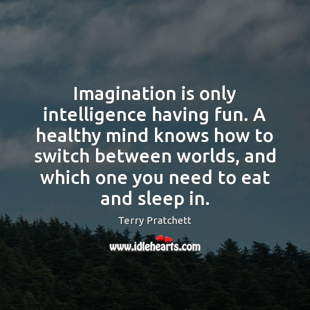 Image, Imagination is only intelligence having fun. A healthy mind knows how to