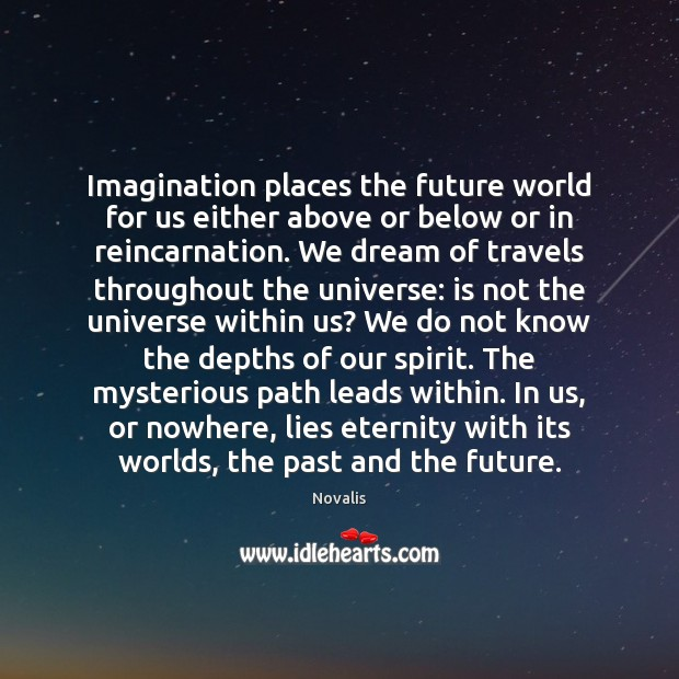Imagination places the future world for us either above or below or Novalis Picture Quote