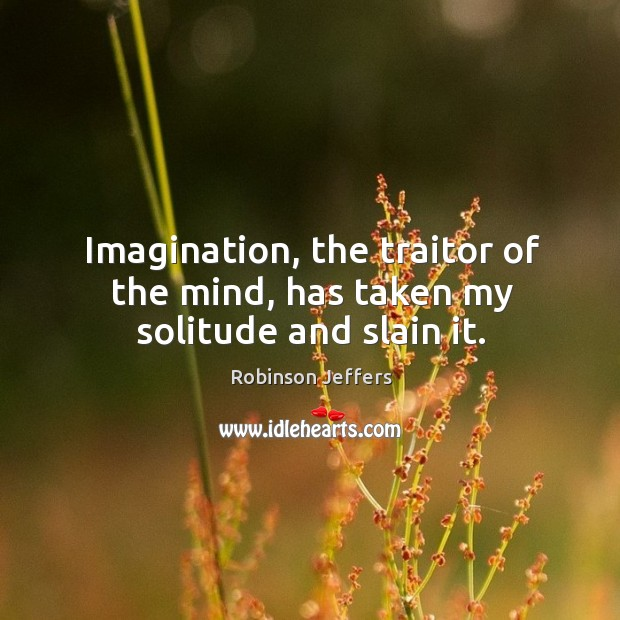 Image, Imagination, the traitor of the mind, has taken my solitude and slain it.