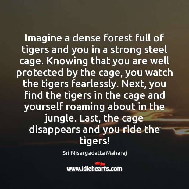 Imagine a dense forest full of tigers and you in a strong Sri Nisargadatta Maharaj Picture Quote
