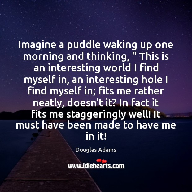 """Image, Imagine a puddle waking up one morning and thinking, """" This is an"""