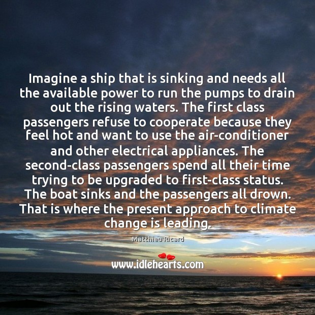 Imagine a ship that is sinking and needs all the available power Matthieu Ricard Picture Quote