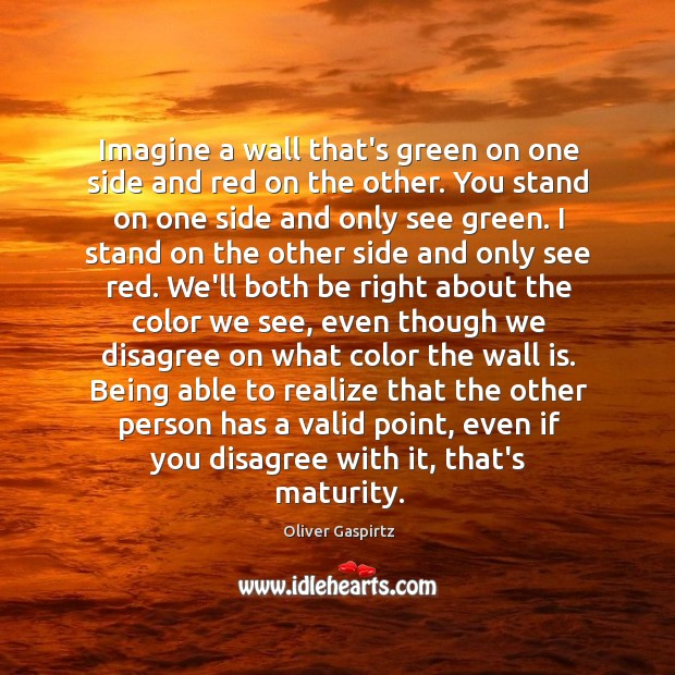 Image, Imagine a wall that's green on one side and red on the